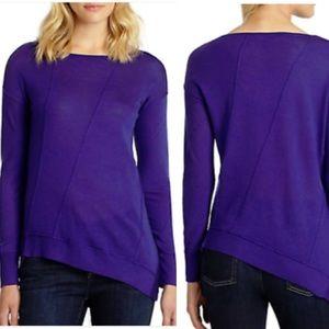 Eileen Fisher Violet Assymetrical Merino Wool Top